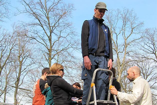 Eine Gruppe von Menschen unterhalb einer Leiter. Eine Person steht auf der Leiter